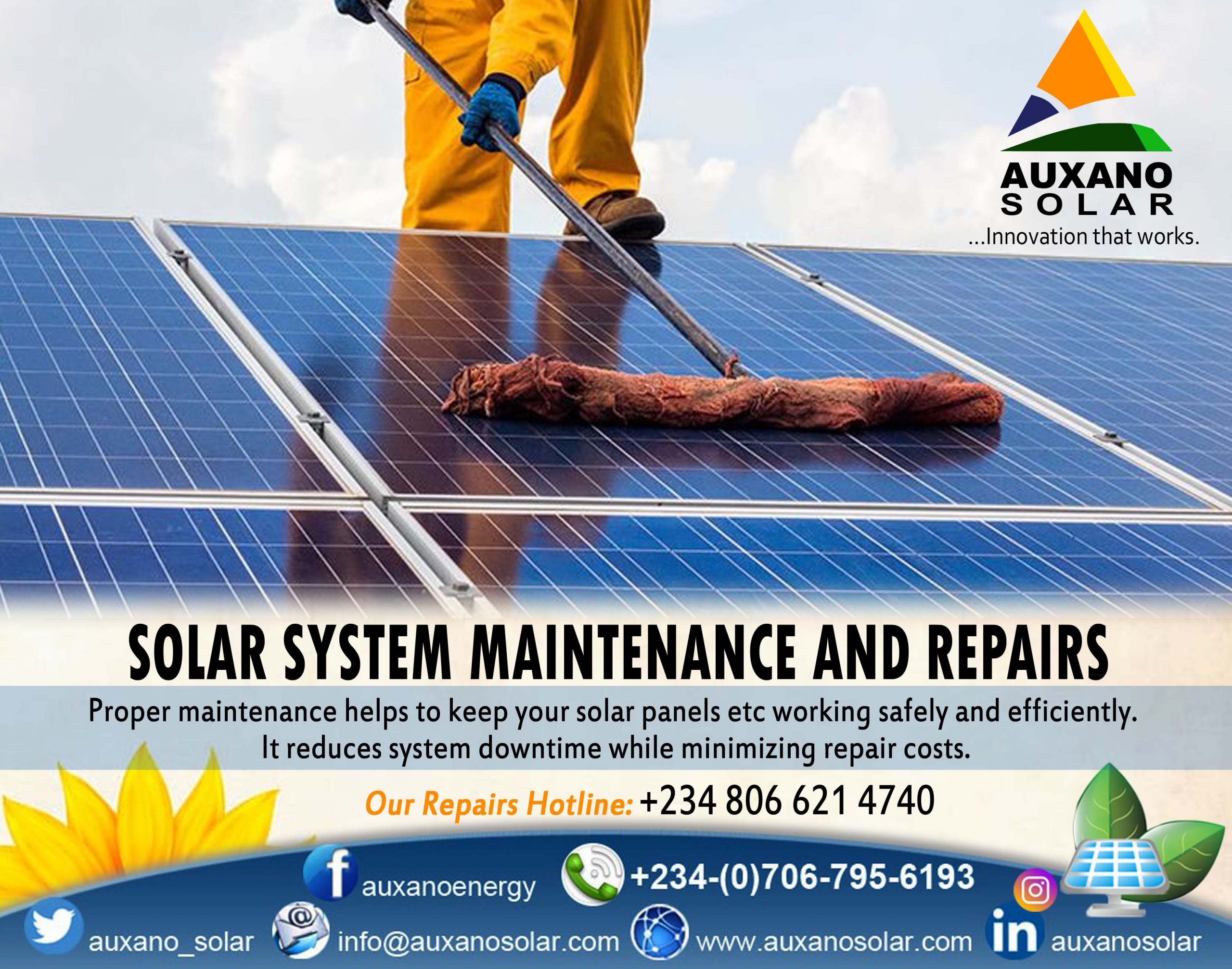 Proper maintenance helps to keep your solar panels working safely and efficiently. It reduces system downtime while minimising repair costs.